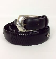 Bill Adler Studio Belt Sz 38 Black Smooth Braided Leather Studded Silver Buckle