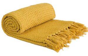 100% Cotton Honeycomb Ochre Mustard Yellow Fringed Tassel Bed Chair Sofa Throw