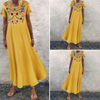 VONDA Summer Women Floral Printed Kaftan Sundress Casual Vintage Long Maxi Dress