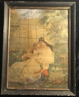 Circa 1880's Chromolithograph of Mother/Daughter in Orig. Frame - Likely German
