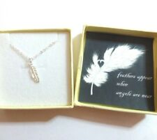 Feathers Appear When Angels are Near Remembrance Necklace 925 Silver Feather