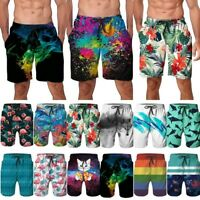Mens 3D Print Beach Shorts Board Surf Casual Summer Holiday Swim Trunks Swimsuit