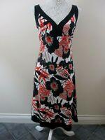 M&S dress size 12 midi black red white linen mix v-neck black trim pretty smart