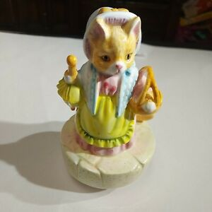 Vtg Schmid Beatrix Potter Mrs. Ribby Roly Poly Pudding Music Box Figurine Cat