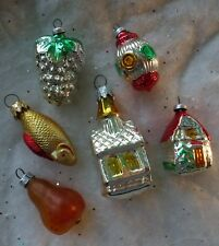 Vintage Christmas Tree Ornaments Small Glass Feather Sz Church House Fish Fruit