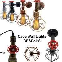 Vintage Industrial Retro Water pipe Wall Lamp Rustic Steampunk Sconce Cage
