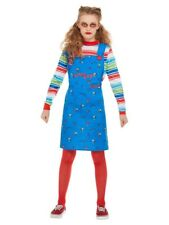 Kids Chucky Costume Girls Doll Halloween Childs Play Fancy Dress Horror Med