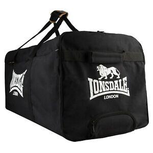 LONSDALE Black & White Heavy Duty Club Team Holdall Bag With Wheels BNWT