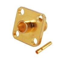 """2pcs RF Adapter coax SMA Female Solder Panel Mount 4-hole for RG402 .141"""" Cable"""