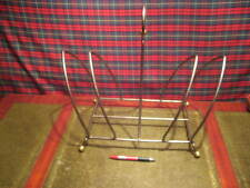 LARGE QUIRKY RETRO STEEL & BRASS MAGAZINE RACK VERY STRONG & ROBUST