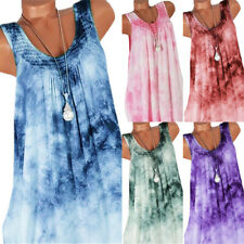 Womens Boho Gradient Sleeveless Baggy Vest Tank Top Summer Beach Sundress US