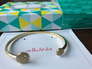 Stella & Dot pave disc cuff gold bracelet, Nearly New in original packing