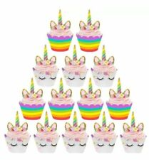 UNICORN CUPCAKE TOPPERS WRAPPERS AND 24 PIECE BIRTHDAY PARTY CAKE LOLLY LOOT BAG