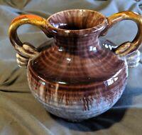 Vintage Brown/White Swirl Drip Glaze Double Handle Vase, Bay-Keramik Germany