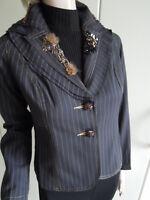 Blazer Jacke Abendjacke  Gr.36 Gr 38 schwarz gold Pailletten  außergewöhnlich