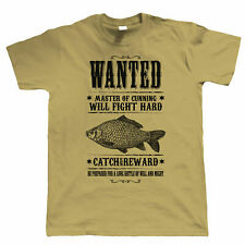 Wanted Poster, Mens Fishing T Shirt, Carp Coarse, Gift for Dad Him
