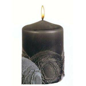Stumpenkerze schwarz-grau