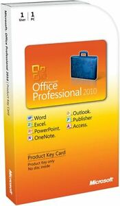Genuine and New Microsoft Office Professional 2010, 1 User [Product Key Card] PC