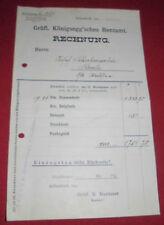 rechnung alt antik gräfl. königsegg´sches rentamt aulendorf  stammh.1918 papier
