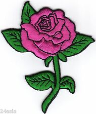 iron on Patches embroidered Beautiful Pink Rose Love Valentine -a2n2