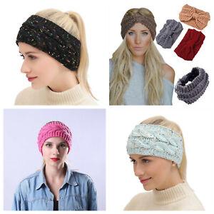 Knitted winter headband wrap ear hair band turban women ladies warm knot sports