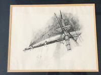 Robert Winter Cato Vintage Drawing Tall Ship/Boat Nautical Framed