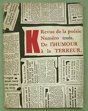 Kurt Schwitters memoriam 1949: K revue de la poesie 3; Arp, Picabia, Klee, etc.