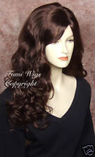 Long Side Parting Wig in Dark Cherry Brown/100% Japanese Fibre Brilliant Quality