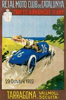 1922 CATALUNYA TROFEO ARMANGUE TARRAGONA CAR RACING SPAIN VINTAGE POSTER REPRO