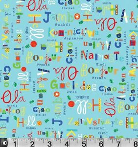 Fat Quarter What a World International Greeting Turquise Cotton Quilting Fabric