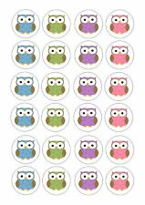24 icing cupcake cake toppers decorations edible Polka dot owls pink purple blue