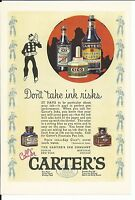 CARTER'S INK MAG AD VERY GRAPHIC LABEL BOTTLES DESK 1920's Pen COLLECTIBLE