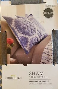 THRESHOLD PILLOW SHAM STANDARD TWIN FULL QUEEN BLUE LINEWORK MEDALLION TARGET NE