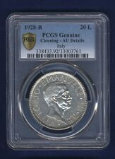 """ITALY  1928  20 LIRE  SILVER COIN  CERTIFIED PCGS """"ALMOST UNCIRCULATED DETAILS"""""""