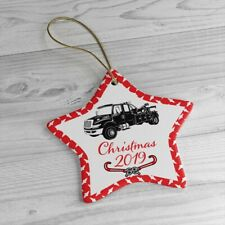 Wrecker Tow Truck Christmas Ceramic Ornaments with Gold String