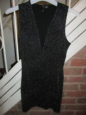 BNWT UK 10 Topshop Dress Black Silver Glitter Plunge Stretch Bodycon XMAS Party