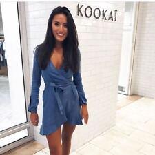 KOOKAI Becca Denim  Frill Wrap Dress 38