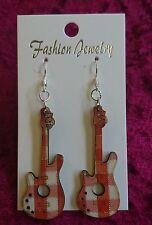 Handmade chic ORANGE wooden guitar silver earrings festival music UK Seller (4)