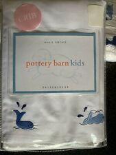 Pottery Barn Kids WHALE PERCALE Crib Baby Nursery Bedding Duvet Set White Blue