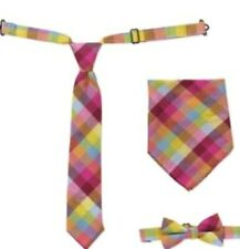 Baby Toddler Boy Multi CheckTie, Bow Tie and Hanky 3 Pc Set Large Troy James New
