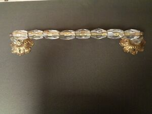 Antique Vintage Cut Glass & Brass Towel Bar  Rod  Rack
