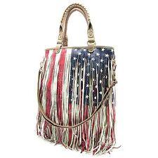 American Flag Fringe Cross body / Shoulder Bag - Ivory