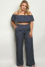 Very Cute Plus size 2 piece pant set with crop top Blue with white stripes