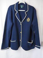 Ralph Lauren Wool Cardigan Sweater Crest Button Front Navy w White Trim 2X #7270