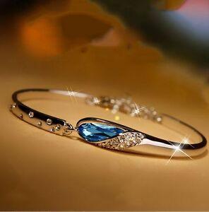 18 k White Gold Filled Blue Diamond Heart Shape Bracelet ..