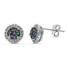 Halo Rainbow Cz & Cz Stud .925 Sterling Silver Earrings