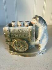 Antique Fairing Bear Cubs Germany Pink Pig Figurine The Whole Dam Family Cart