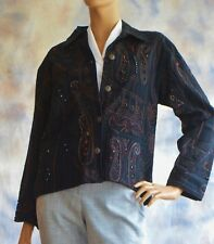 NWT CHICOS Sz 1 Camelot Black Roadster Jacket 8 / 10 Reg Size Beaded Embroidery