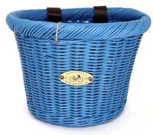 Nantucket Gull & Buoy Child D-Shape Front Handlebar Bike Basket Natural Blue