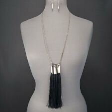 Antique Silver Finish Chain Black Fringe Tassel Pendant Necklace With Earrings